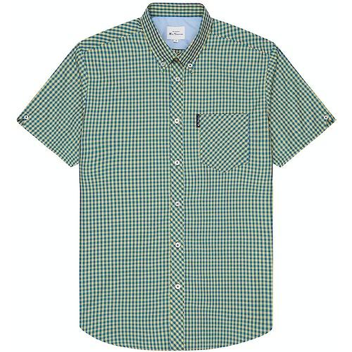 Ben Sherman Signature Short Sleeve Gingham Shirt Yellow
