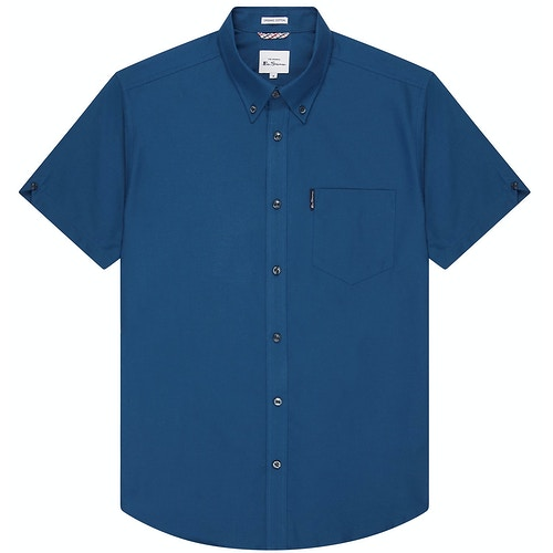 Ben Sherman Oxford Short Sleeve Shirt Airforce Blue