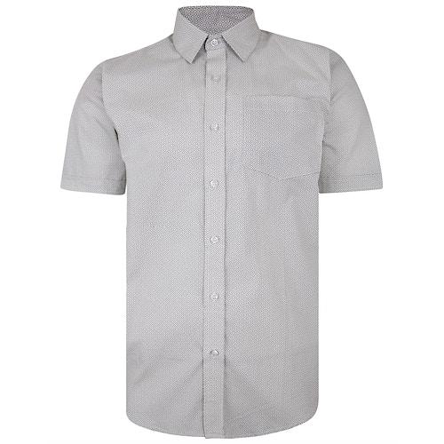 Bigdude Short Sleeve Cotton Woven Abstract Design Shirt White/Back