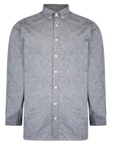 Bigdude Chambray Long Sleeve Shirt Navy Tall