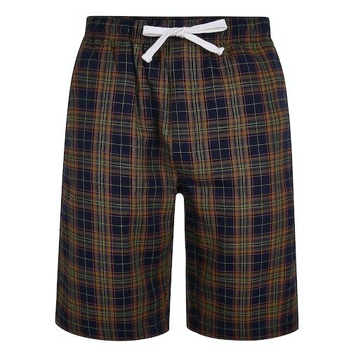 Bigdude Woven Check Pyjama Shorts Yellow/Navy