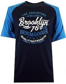 Espionage Brooklyn Print Raglan T-Shirt Blau