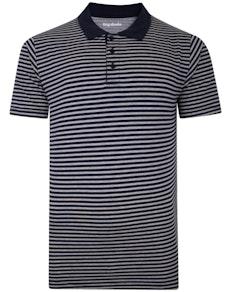 Bigdude Striped Polo Shirt Grey/Navy