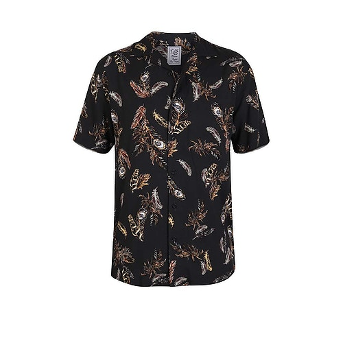 D555 Randal Revere Collar Short Sleeve Shirt Black
