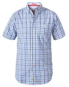 D555 Rowling  Gingham Check Shirt Blue