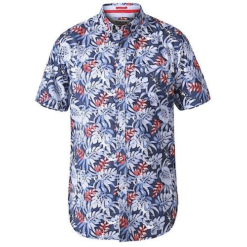 D555 Malibu Hawaii Print Hemd Blau