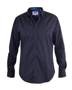 D555 gemustertes Hemd Adelaide Marineblau