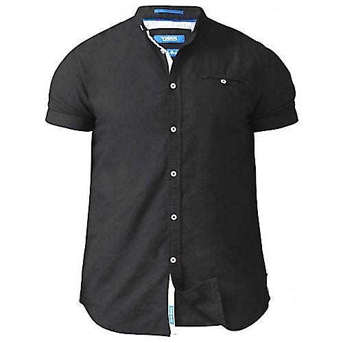 D555 Oxford Hemd Dwight ohne Kragen Schwarz Tall Fit