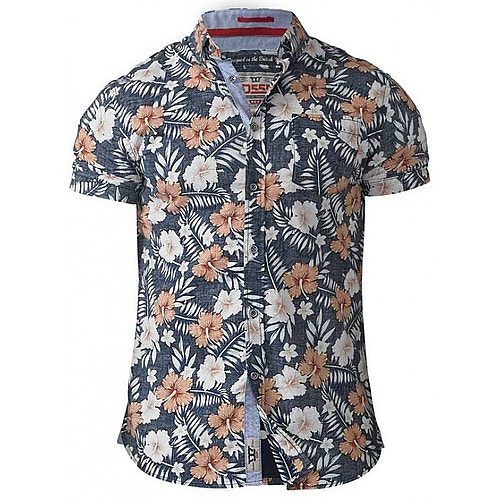 D555 Huxley Hawaiian Print Shirt Tall