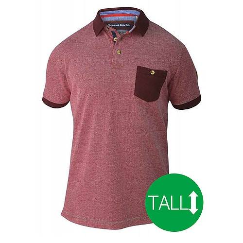 D555 Cruz Polo Shirt with Pocket - Red/ Navy Tall