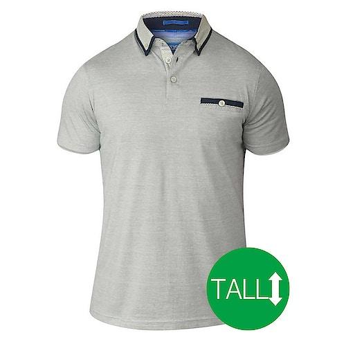 D555 Colin weiß-graues Poloshirt mit kurzen Ärmeln - Tall Collection