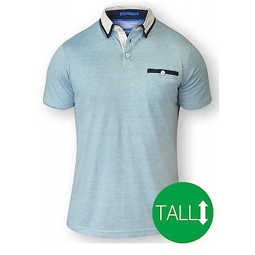 D555 Colin Fine Short Sleeved Polo Shirt - Blue/ White Tall