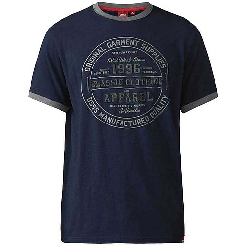 D555 Wilfred Classic Print T-Shirt Navy Tall