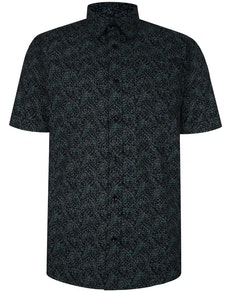 Bigdude Short Sleeve Cotton Woven Abstract Design Shirt Black/Green