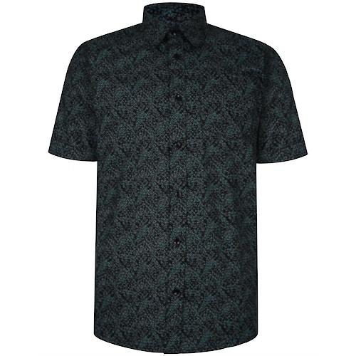 Bigdude Short Sleeve Cotton Woven Abstract Design Shirt Black/Green