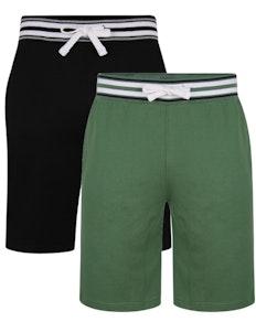 Bigdude Contrast Stripe Waistband Shorts Twin Pack Deep Green/Black