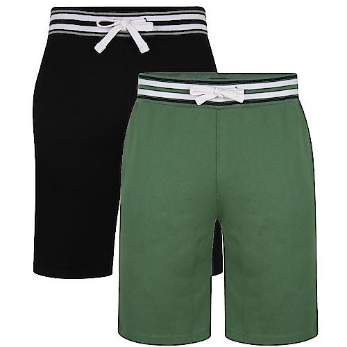 Bigdude Shorts mit Kontrastbund im Doppelpack Grün/Schwarz
