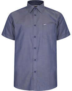 KAM Slub Weave Short Sleeve Shirt Indigo