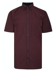 Bigdude Short Sleeve Gingham Check Shirt Red Tall