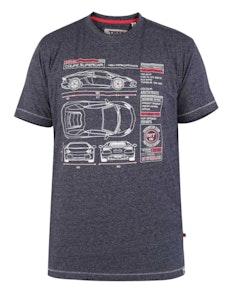 D555 Super Car Print T-Shirt Blau