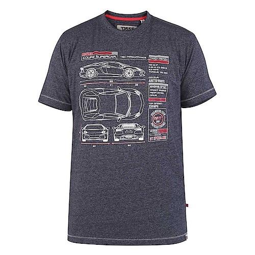 D555 Super Car Blueprint T-Shirt Navy