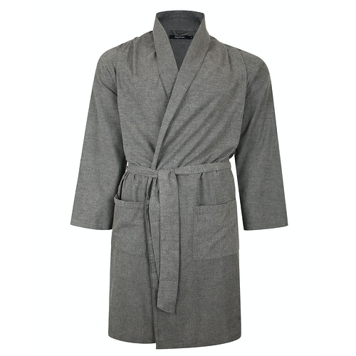 Bigdude Woven Cotton Dressing Gown Charcoal