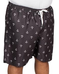Bigdude Anchor Print Swim Shorts Black