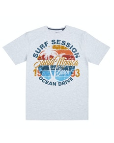 Pierre Roche Santa Monica Print T-Shirt Off Grey Marl