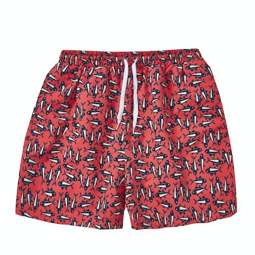 Fish Print Swim Shorts Coral