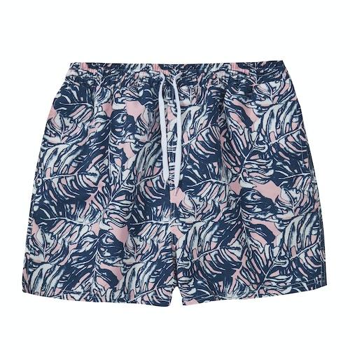 Leaf Print Swim Shorts Navy/Pink