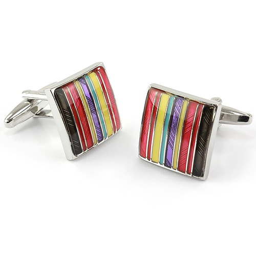 Sophos Square Multi Red Stripe Cufflinks