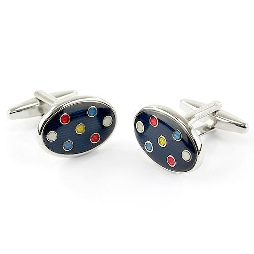 Sophos Oval Cufflinks- Multi Colour Spot
