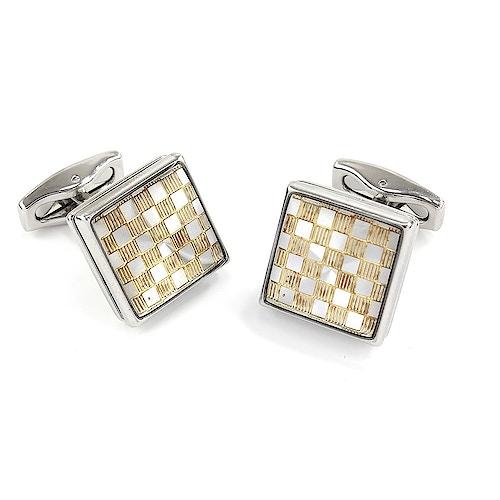 Sophos Silver/Square Gilt Check Cufflinks