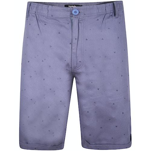 Bigdude Patterned Twill Chino Shorts Blue