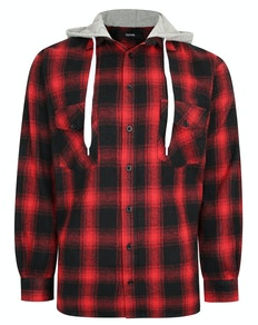 Bigdude Checked Flannel Shirt with Hood Red