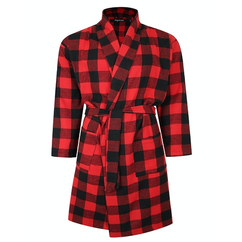 Bigdude Woven Cotton Dressing Gown Red