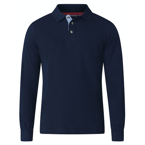 D555 Darvin Long Sleeve Polo Navy Tall