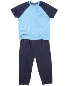 Cotton Valley Long Leg Plain Pyjama Blau