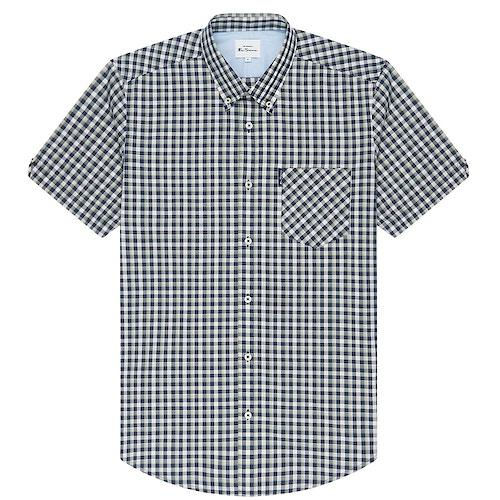Ben Sherman Mini Gradient Check Shirt Marine Blue