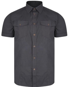 KAM Retro Stretch Short Sleeve Shirt Charcoal