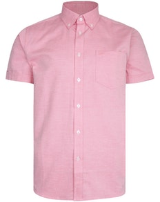 KAM Dobby Weave Short Sleeve Shirt Pink