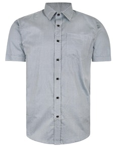 Bigdude Short Sleeve Cotton Woven Circle Design Shirt Grey/Black