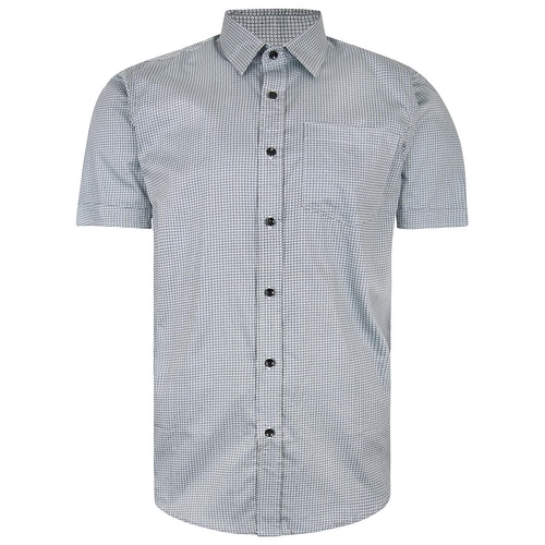 Bigdude Short Sleeve Cotton Woven Circle Design Shirt Grey/Black