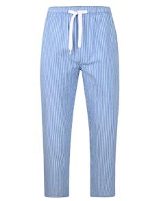 Bigdude gewebte gestreifte Pyjamahose Blau