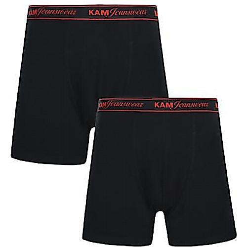 KAM Twin Pack Boxer Shorts Black