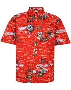 Espionage Hawaiian Print Shirt Orange