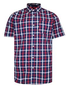 Bigdude Woven Short Sleeve Check Shirt Red/Navy
