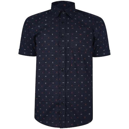 Bigdude Short Sleeve Cotton Woven Abstract Design Shirt Navy/Grey Tall