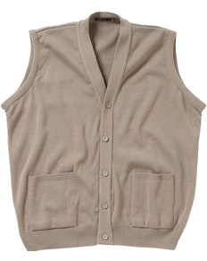 Cotton Valley Knitted Sleeveless Cardigan Taupe
