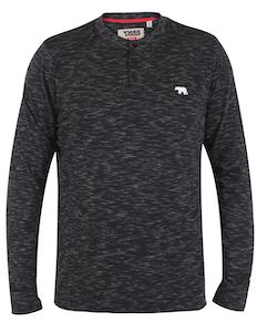 D555 Lavenham Long Sleeve Slub Grandad T-Shirt Black